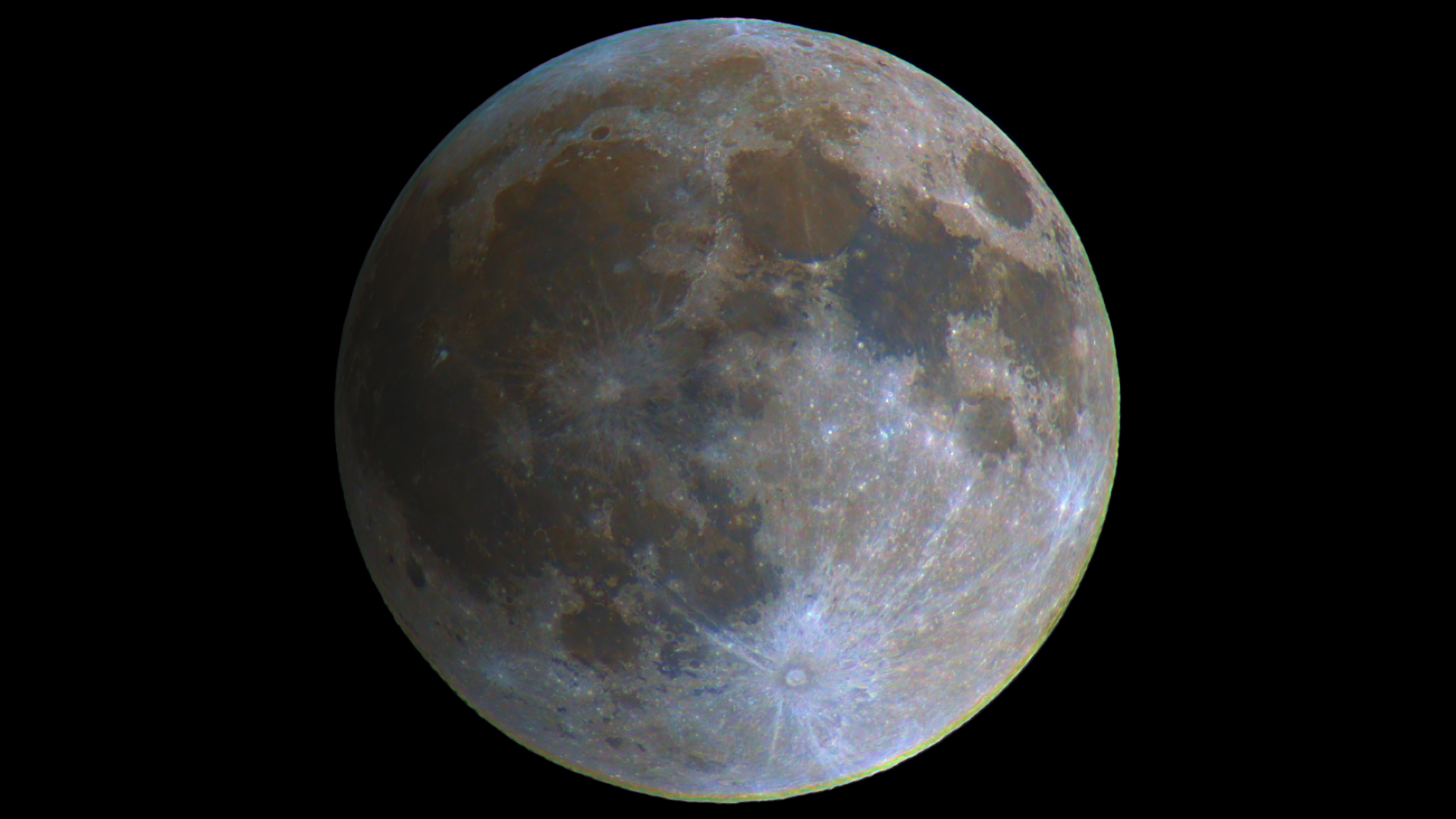 Moon just as the eclipse started with saturation boosted